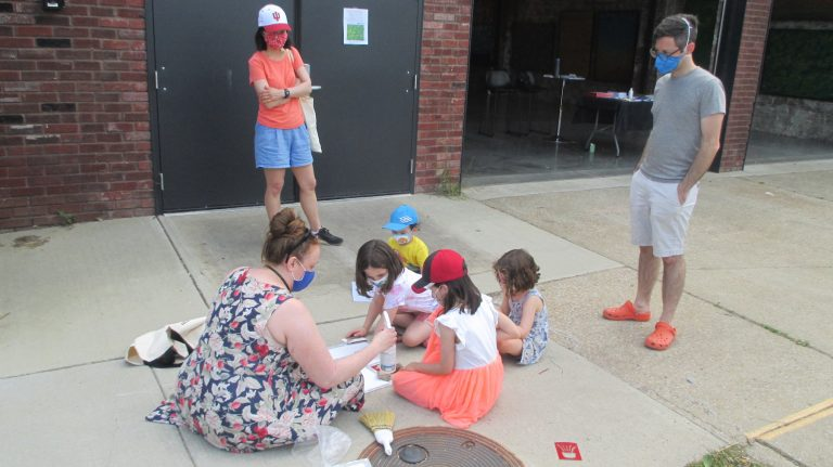 Category 6 & 7. 5. Sarah and parents working with kids outside
